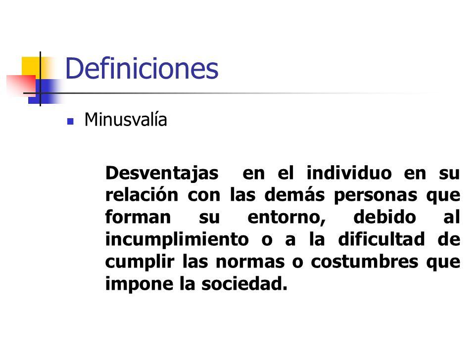 Definiciones Minusvalía Desventajas en el individuo en su relación con las demás personas que forman su entorno, debido al incumplimiento o a la dific