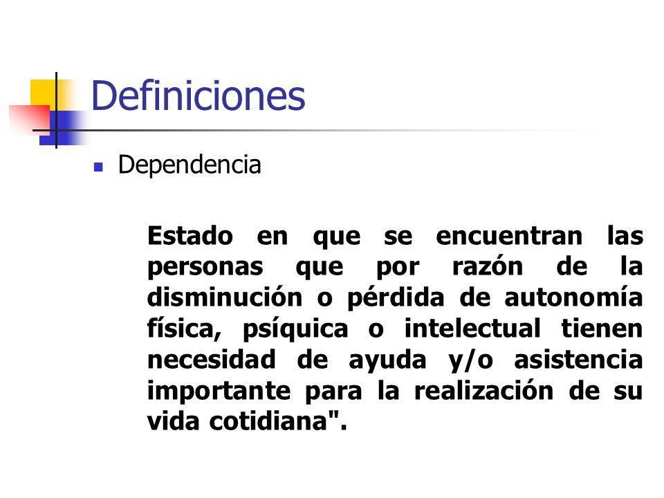 Definiciones Dependencia Estado en que se encuentran las personas que por razón de la disminución o pérdida de autonomía física, psíquica o intelectua