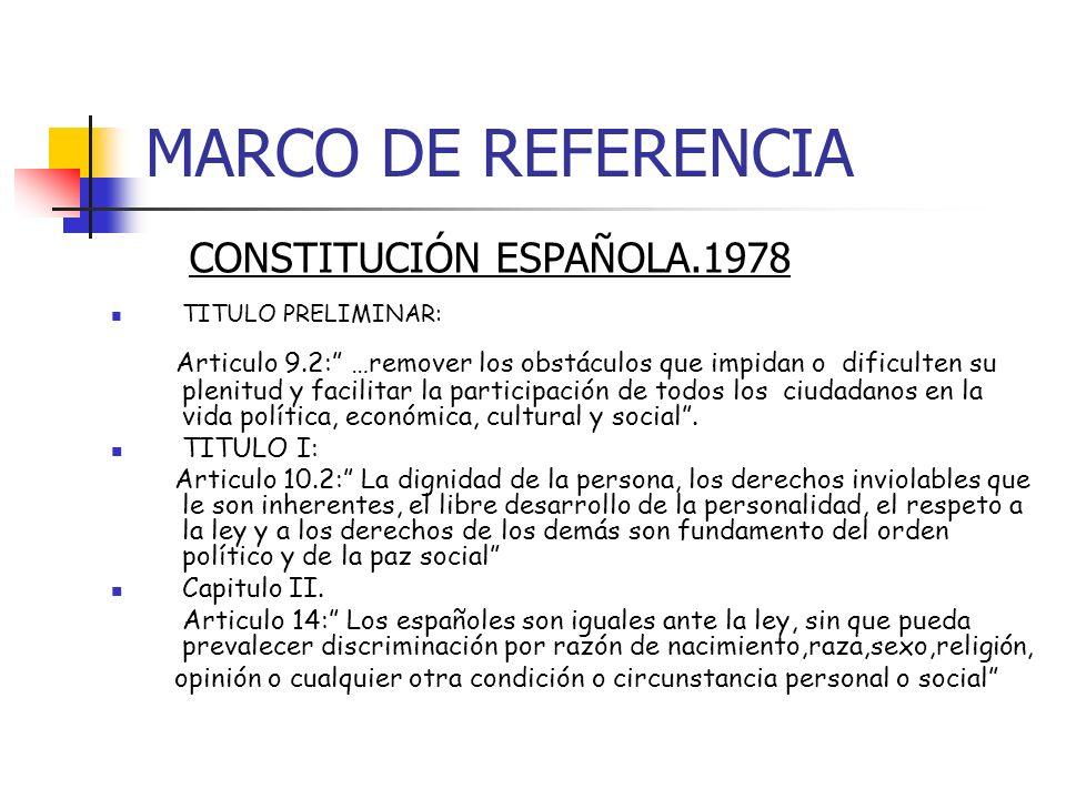 MARCO DE REFERENCIA CONSTITUCIÓN ESPAÑOLA.1978 TITULO PRELIMINAR: Articulo 9.2: …remover los obstáculos que impidan o dificulten su plenitud y facilit