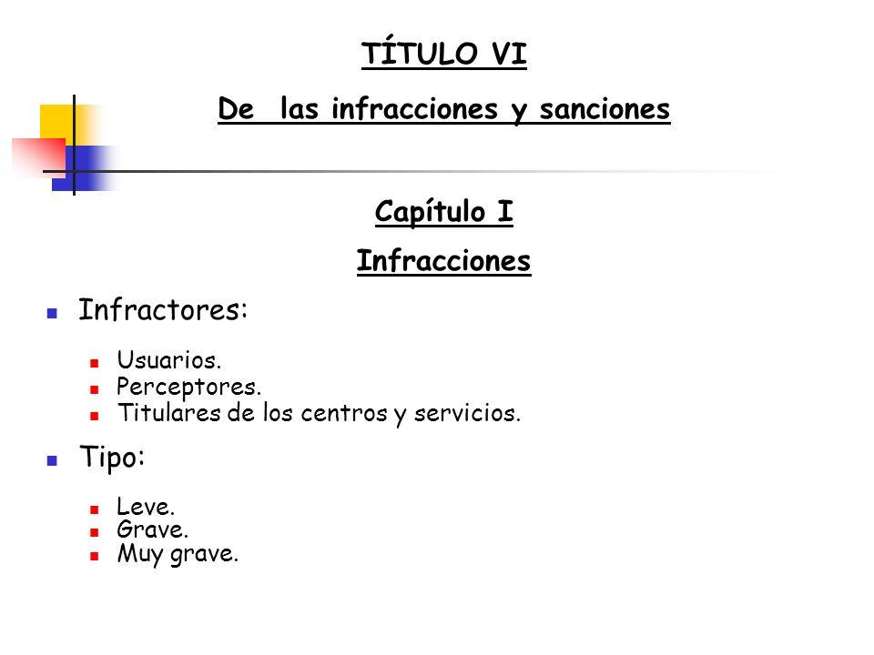 TÍTULO VI De las infracciones y sanciones Capítulo I Infracciones Infractores: Usuarios. Perceptores. Titulares de los centros y servicios. Tipo: Leve