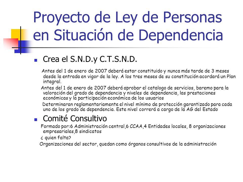 Proyecto de Ley de Personas en Situación de Dependencia Crea el S.N.D.y C.T.S.N.D. Antes del 1 de enero de 2007 deberá estar constituido y nunca más t