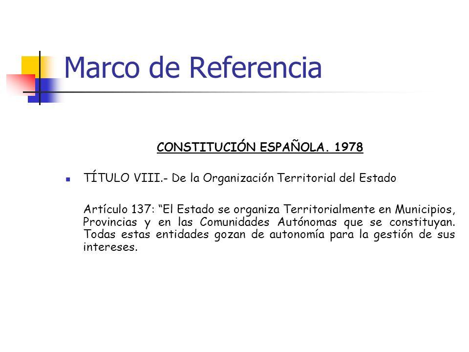 Marco de Referencia CONSTITUCIÓN ESPAÑOLA. 1978 TÍTULO VIII.- De la Organización Territorial del Estado Artículo 137: El Estado se organiza Territoria