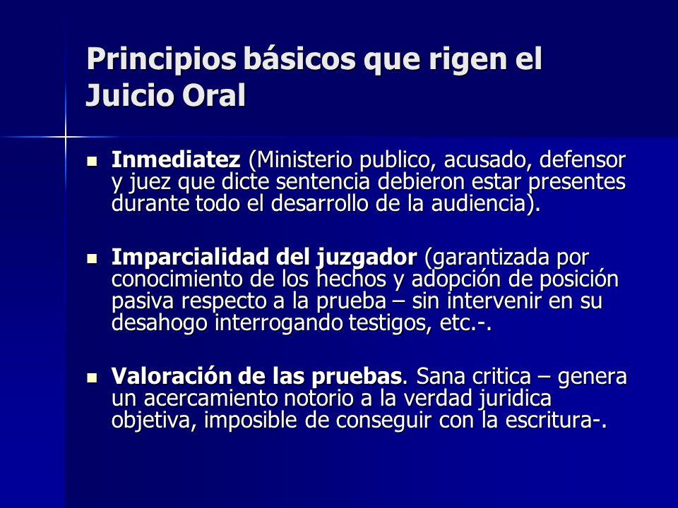 Principios básicos que rigen el Juicio Oral Inmediatez (Ministerio publico, acusado, defensor y juez que dicte sentencia debieron estar presentes dura
