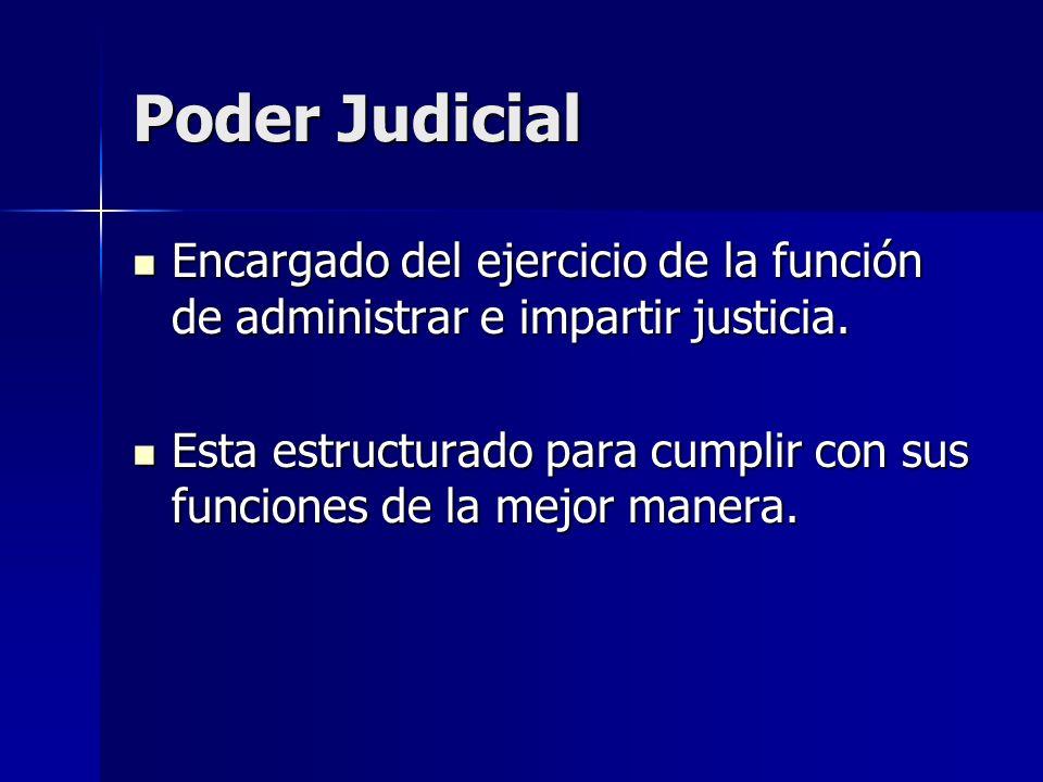 Poder Judicial Encargado del ejercicio de la función de administrar e impartir justicia. Encargado del ejercicio de la función de administrar e impart