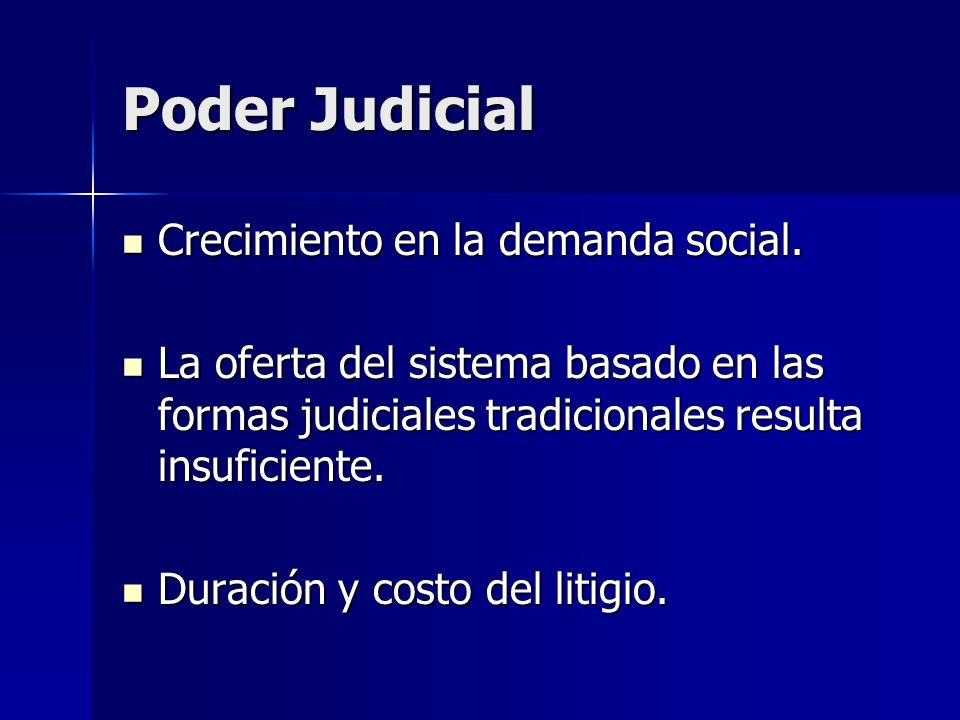 Poder Judicial Crecimiento en la demanda social. Crecimiento en la demanda social. La oferta del sistema basado en las formas judiciales tradicionales