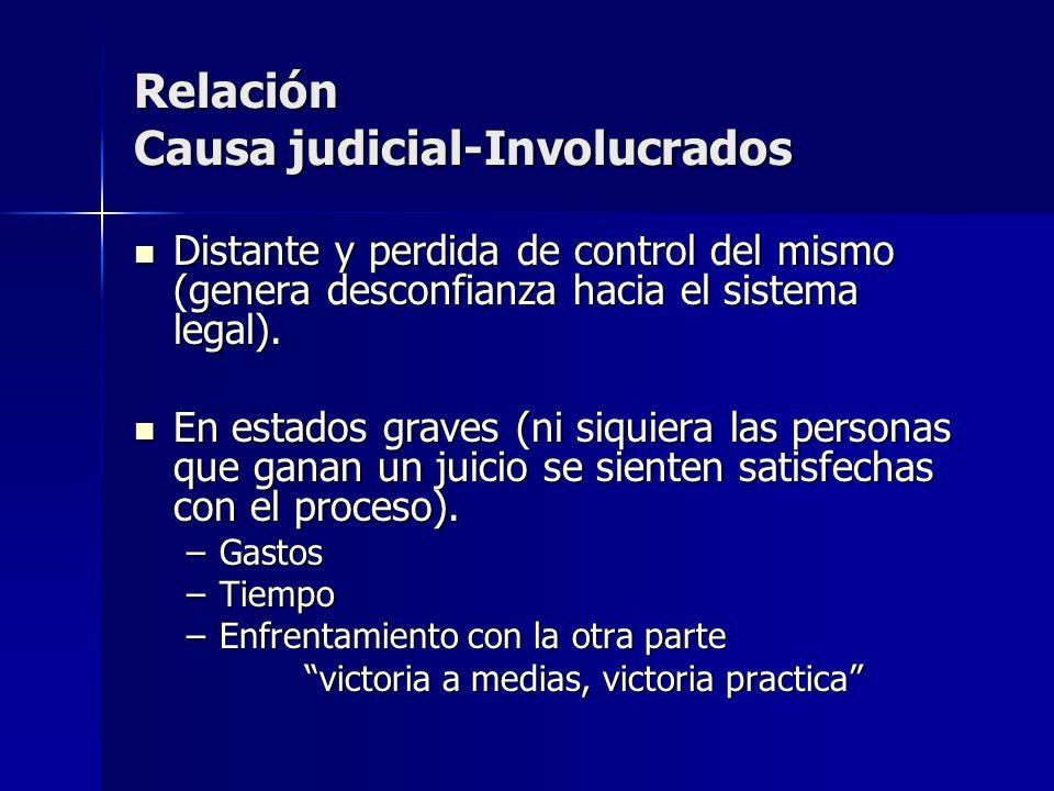 Relación Causa judicial-Involucrados Distante y perdida de control del mismo (genera desconfianza hacia el sistema legal). Distante y perdida de contr