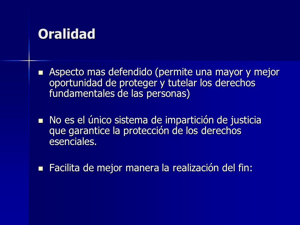 Oralidad Aspecto mas defendido (permite una mayor y mejor oportunidad de proteger y tutelar los derechos fundamentales de las personas) Aspecto mas de