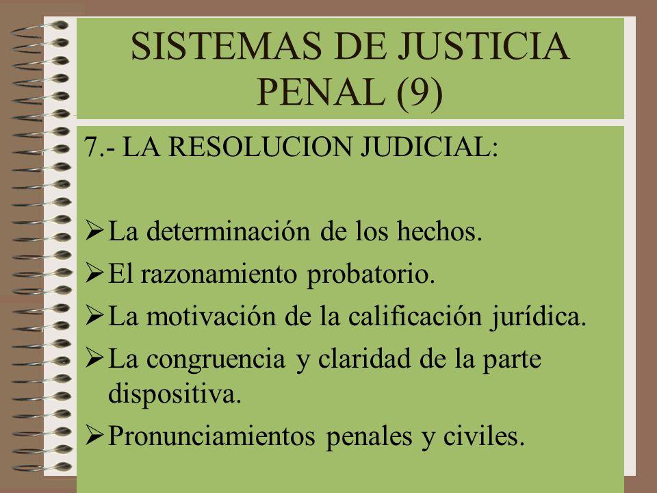 SISTEMAS DE JUSTICIA PENAL (9) 7.- LA RESOLUCION JUDICIAL: La determinación de los hechos. El razonamiento probatorio. La motivación de la calificació