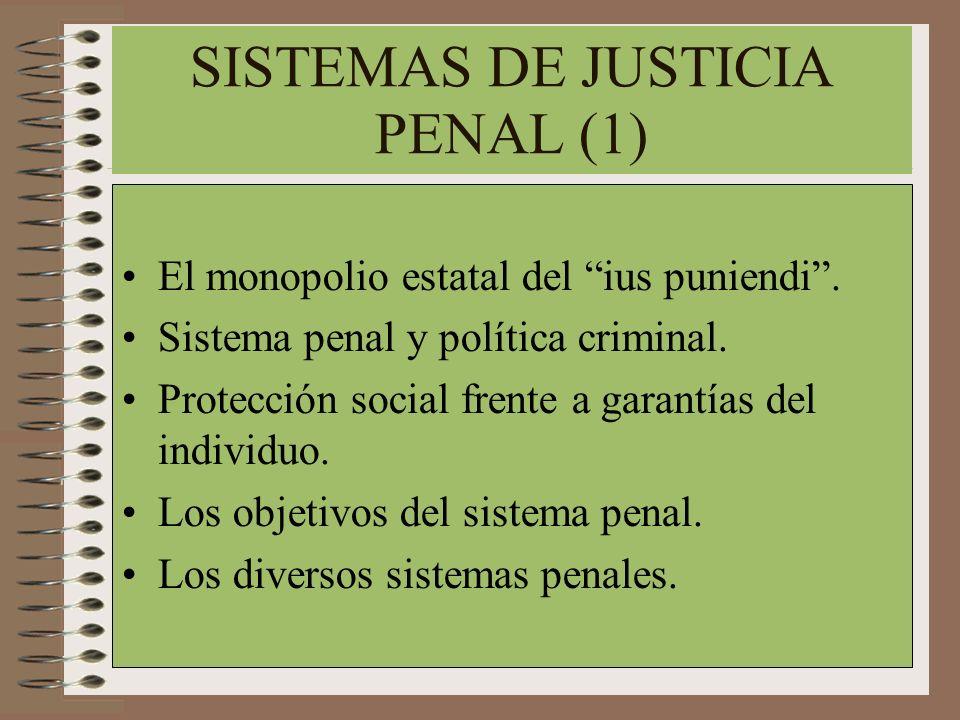 SISTEMAS DE JUSTICIA PENAL (1) El monopolio estatal del ius puniendi. Sistema penal y política criminal. Protección social frente a garantías del indi