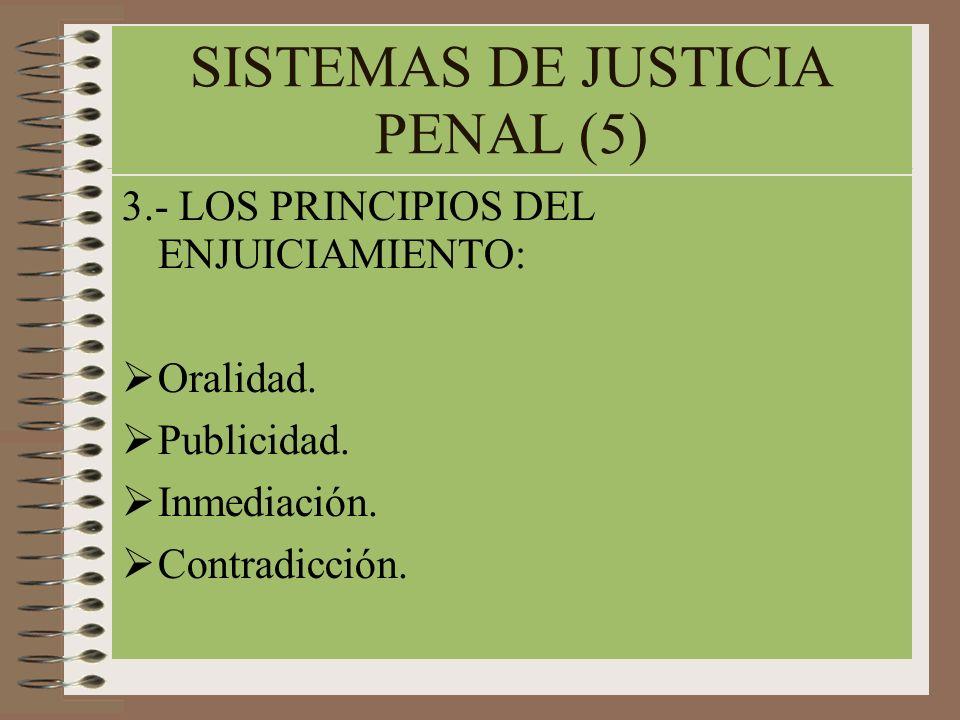 SISTEMAS DE JUSTICIA PENAL (5) 3.- LOS PRINCIPIOS DEL ENJUICIAMIENTO: Oralidad. Publicidad. Inmediación. Contradicción.