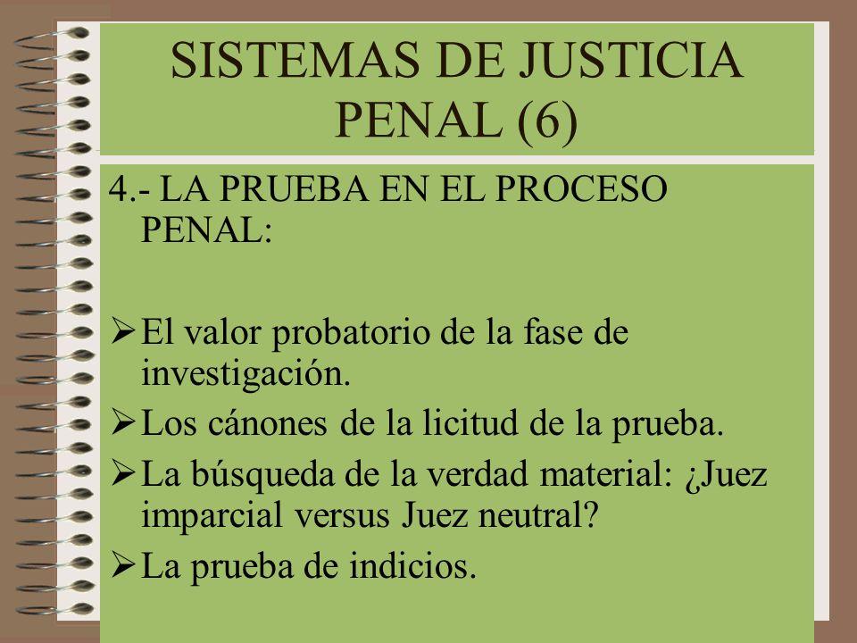 SISTEMAS DE JUSTICIA PENAL (6) 4.- LA PRUEBA EN EL PROCESO PENAL: El valor probatorio de la fase de investigación. Los cánones de la licitud de la pru