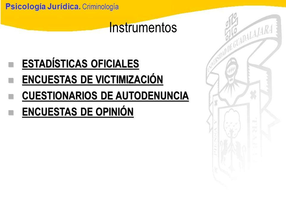 Psicología Jurídica Instrumentos Psicología Jurídica. Criminología n ESTADÍSTICAS OFICIALES n ENCUESTAS DE VICTIMIZACIÓN n CUESTIONARIOS DE AUTODENUNC