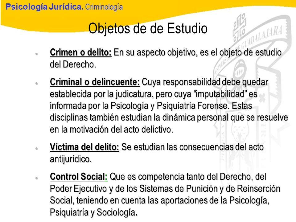 Psicología Jurídica Objetos de de Estudio Psicología Jurídica. Criminología Crimen o delito: En su aspecto objetivo, es el objeto de estudio del Derec