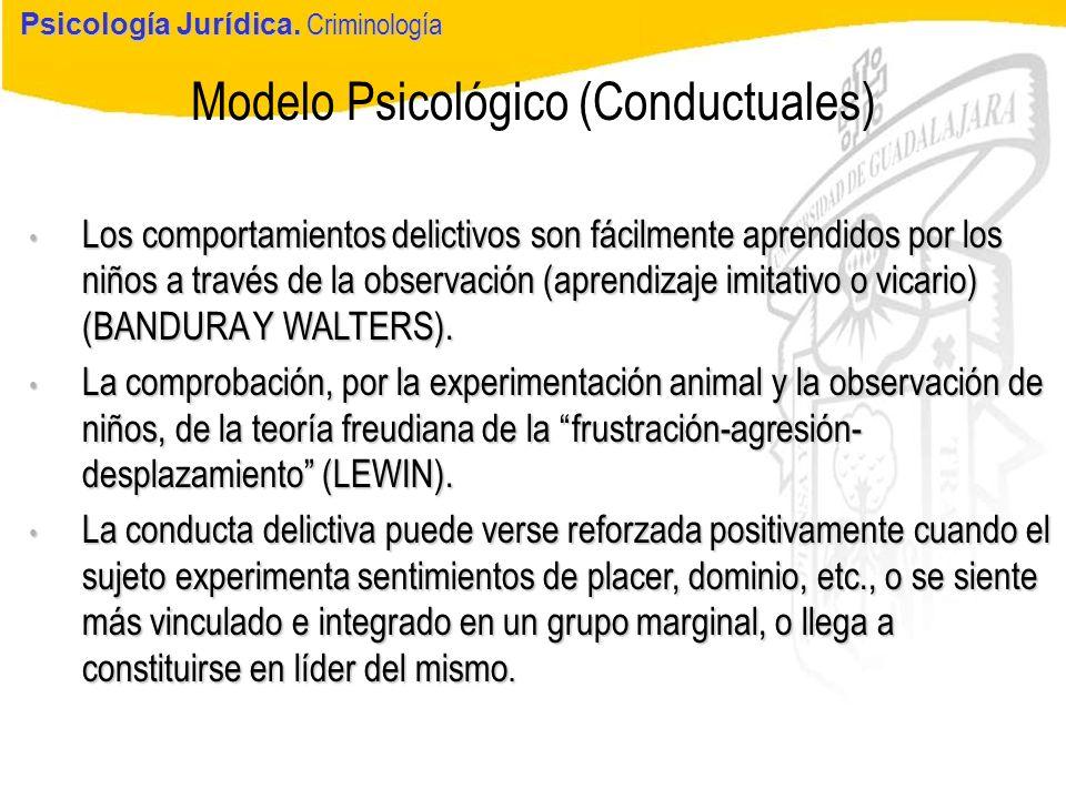 Psicología Jurídica Modelo Psicológico (Conductuales) Psicología Jurídica. Criminología Los comportamientos delictivos son fácilmente aprendidos por l