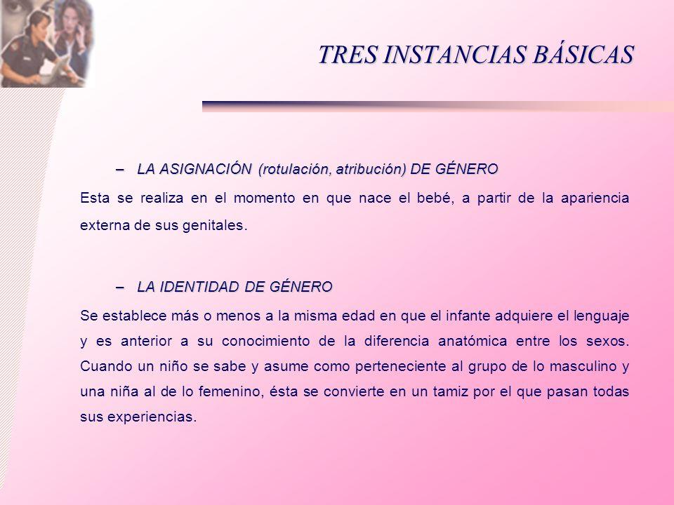 TRES INSTANCIAS BÁSICAS –LA ASIGNACIÓN (rotulación, atribución) DE GÉNERO Esta se realiza en el momento en que nace el bebé, a partir de la apariencia