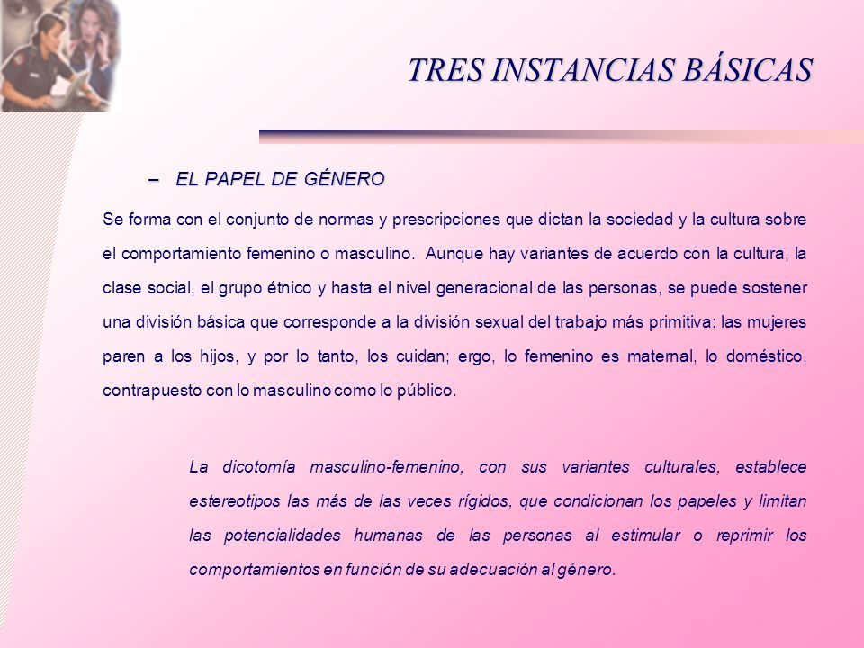 TRES INSTANCIAS BÁSICAS –EL PAPEL DE GÉNERO Se forma con el conjunto de normas y prescripciones que dictan la sociedad y la cultura sobre el comportam