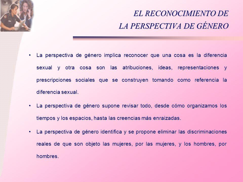 EL RECONOCIMIENTO DE LA PERSPECTIVA DE GÉNERO La perspectiva de género implica reconocer que una cosa es la diferencia sexual y otra cosa son las atri