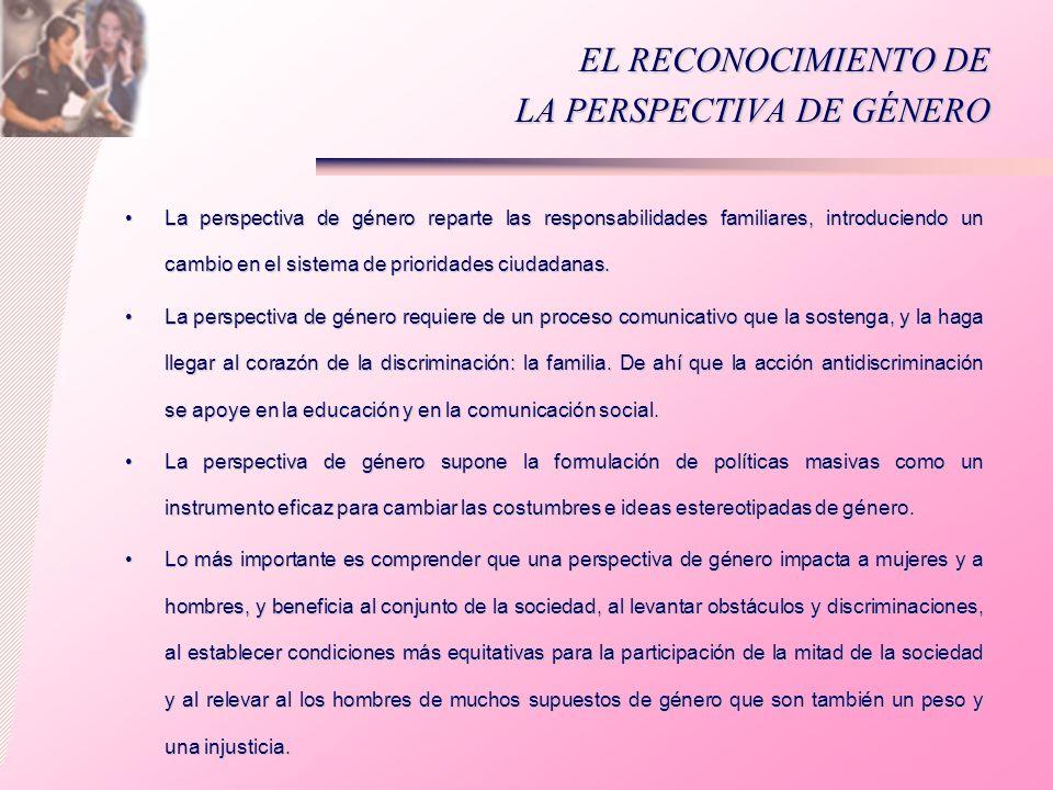 EL RECONOCIMIENTO DE LA PERSPECTIVA DE GÉNERO La perspectiva de género reparte las responsabilidades familiares, introduciendo un cambio en el sistema