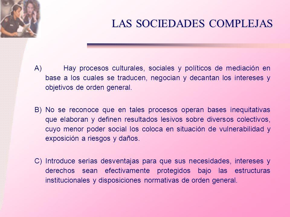 LAS SOCIEDADES COMPLEJAS A) Hay procesos culturales, sociales y políticos de mediación en base a los cuales se traducen, negocian y decantan los inter
