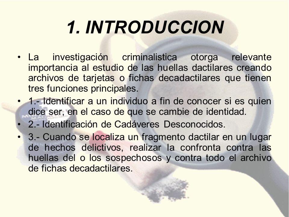 1. INTRODUCCION La investigación criminalistica otorga relevante importancia al estudio de las huellas dactilares creando archivos de tarjetas o ficha