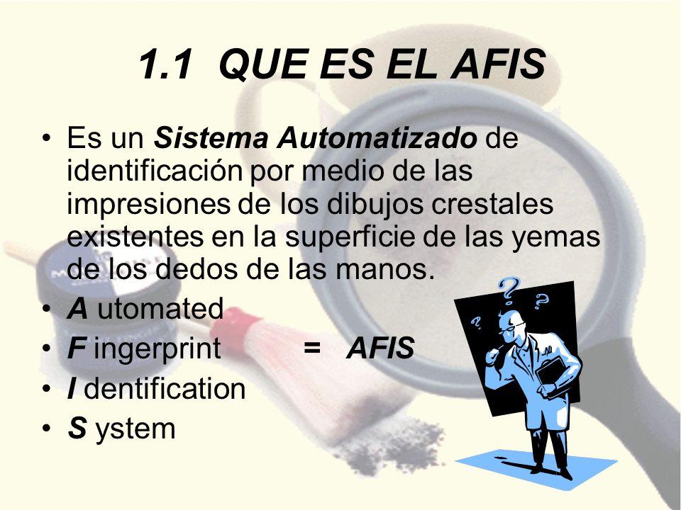 1.1 QUE ES EL AFIS Es un Sistema Automatizado de identificación por medio de las impresiones de los dibujos crestales existentes en la superficie de l