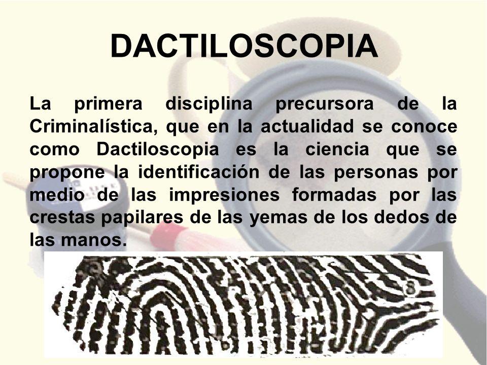 DACTILOSCOPIA La primera disciplina precursora de la Criminalística, que en la actualidad se conoce como Dactiloscopia es la ciencia que se propone la