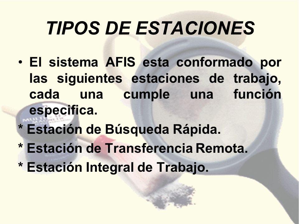 TIPOS DE ESTACIONES El sistema AFIS esta conformado por las siguientes estaciones de trabajo, cada una cumple una función especifica. * Estación de Bú