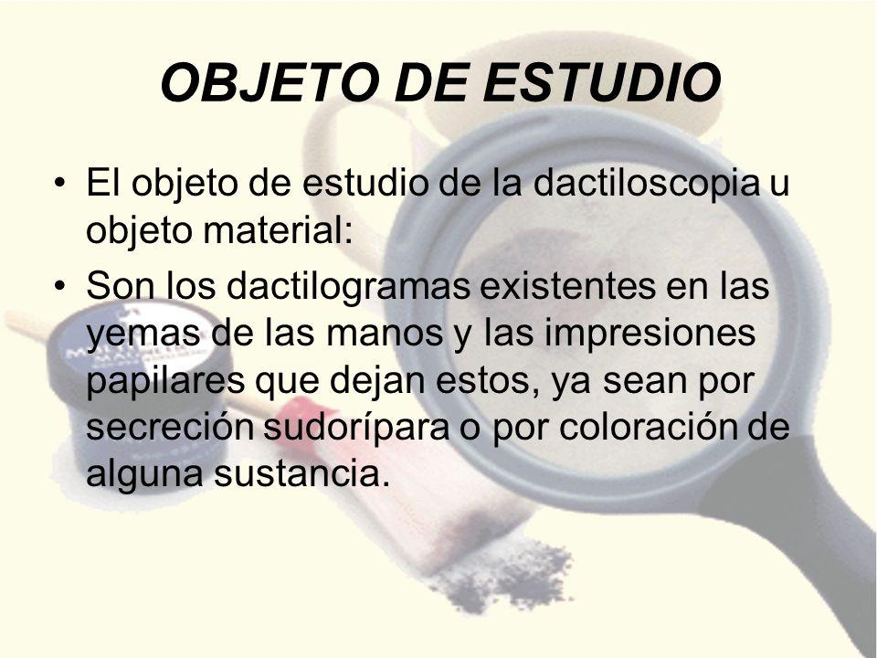 OBJETO DE ESTUDIO El objeto de estudio de la dactiloscopia u objeto material: Son los dactilogramas existentes en las yemas de las manos y las impresi