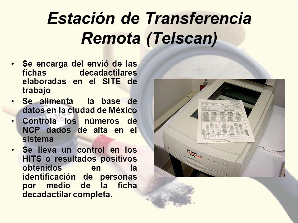 Estación de Transferencia Remota (Telscan) Se encarga del envió de las fichas decadactilares elaboradas en el SITE de trabajo Se alimenta la base de d