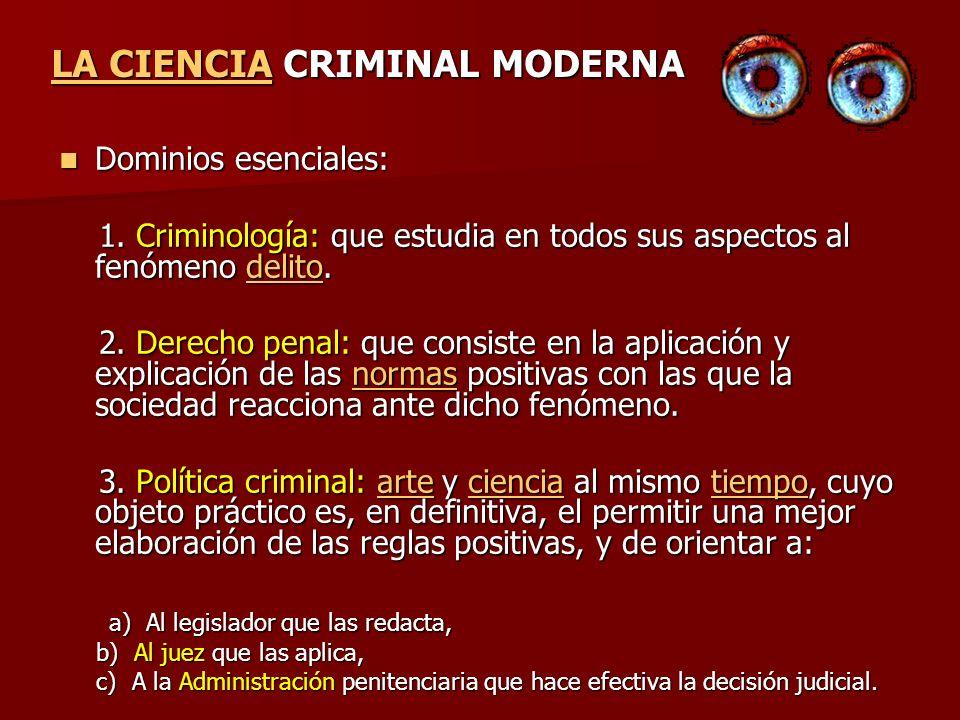 Dominios esenciales: Dominios esenciales: 1. Criminología: que estudia en todos sus aspectos al fenómeno delito. 1. Criminología: que estudia en todos