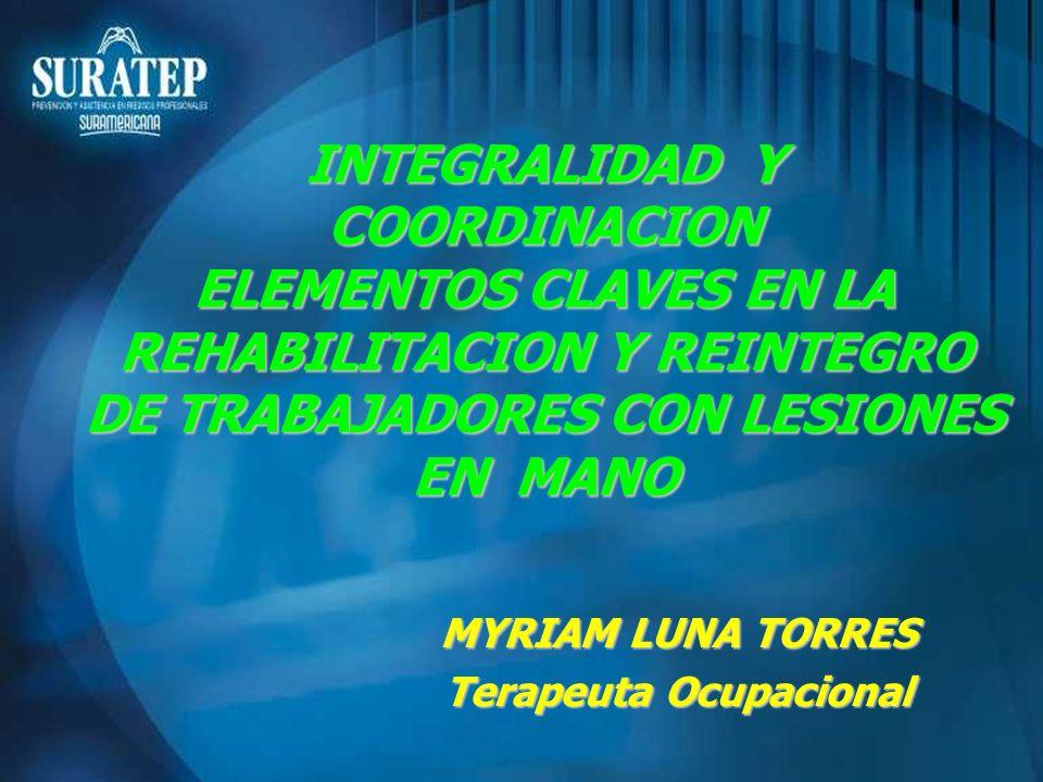 INTEGRALIDAD Y COORDINACION ELEMENTOS CLAVES EN LA REHABILITACION Y REINTEGRO DE TRABAJADORES CON LESIONES EN MANO MYRIAM LUNA TORRES Terapeuta Ocupac