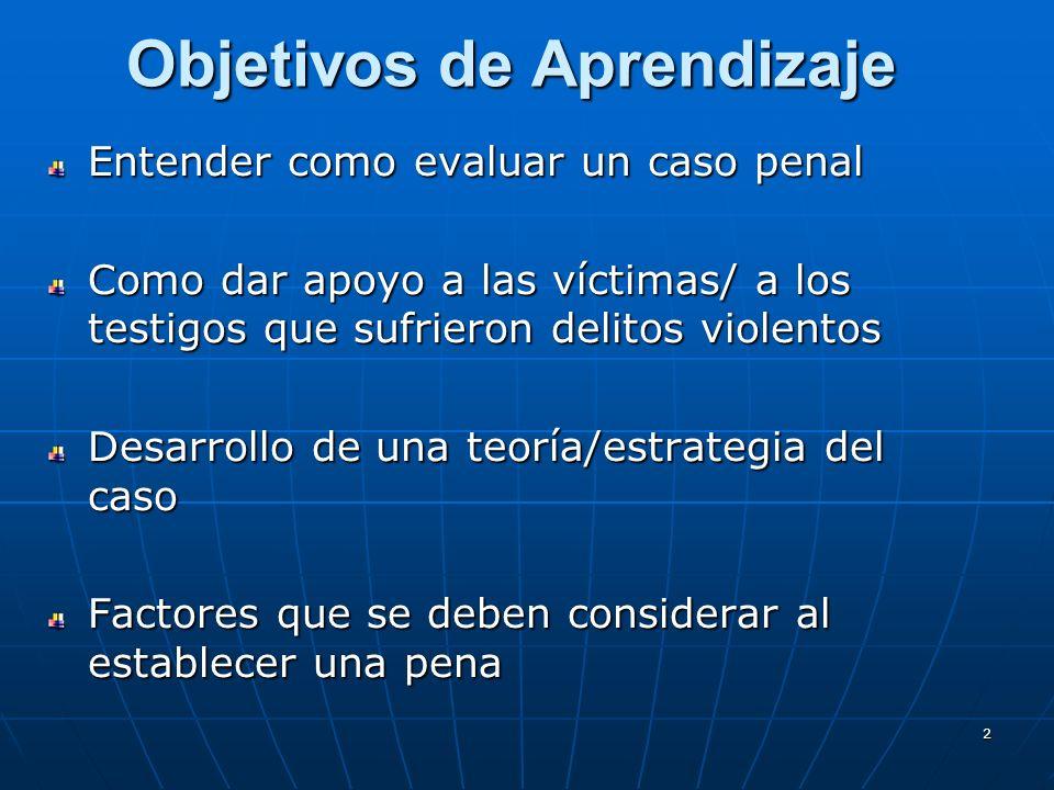 2 Objetivos de Aprendizaje Entender como evaluar un caso penal Como dar apoyo a las víctimas/ a los testigos que sufrieron delitos violentos Desarrollo de una teoría/estrategia del caso Factores que se deben considerar al establecer una pena