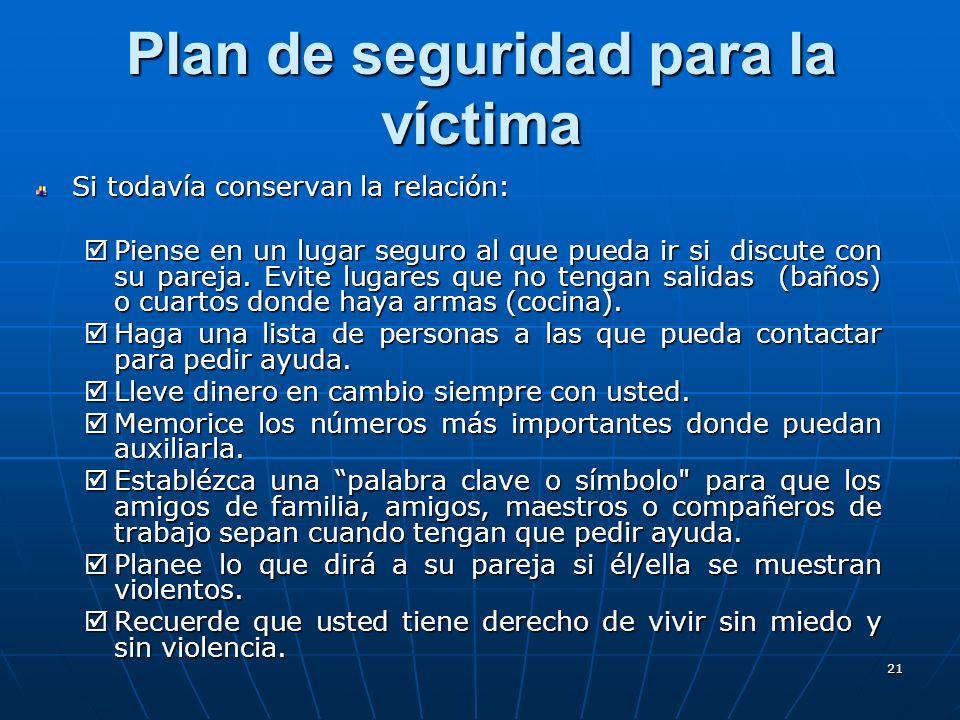 21 Plan de seguridad para la víctima Si todavía conservan la relación: Piense en un lugar seguro al que pueda ir si discute con su pareja.