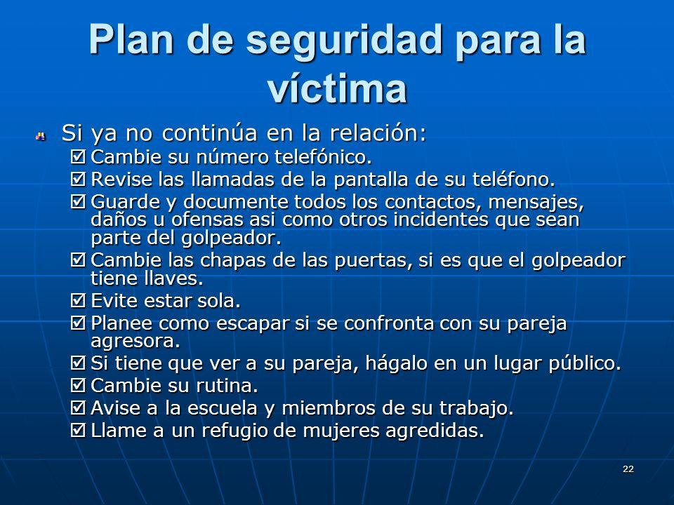 22 Plan de seguridad para la víctima Si ya no continúa en la relación: Cambie su número telefónico.