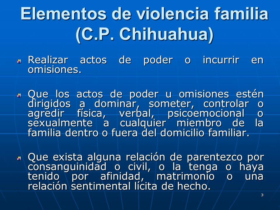 3 Elementos de violencia familia (C.P. Chihuahua) Realizar actos de poder o incurrir en omisiones.