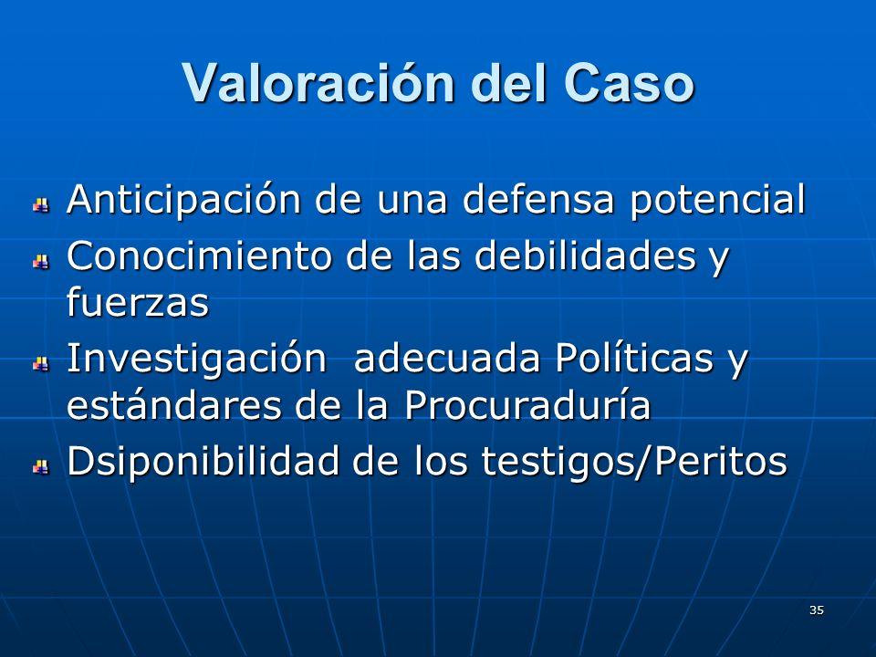 35 Valoración del Caso Anticipación de una defensa potencial Conocimiento de las debilidades y fuerzas Investigación adecuada Políticas y estándares de la Procuraduría Dsiponibilidad de los testigos/Peritos