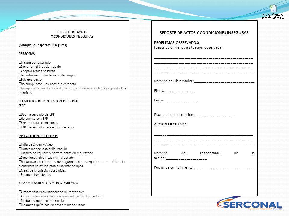 REPORTE DE ACTOS Y CONDICIONES INSEGURAS (Marque los aspectos Inseguros) PERSONAS Trabajador Distraído Correr en el área de trabajo Adoptar Malas post