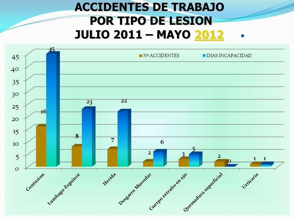 ACCIDENTES DE TRABAJO POR TIPO DE LESION POR TIPO DE LESION JULIO 2011 – MAYO 2012 2012