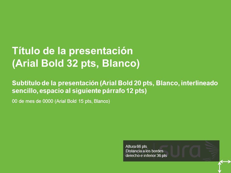 ARP SURA Título de la presentación (Arial Bold 32 pts, Blanco) Subtítulo de la presentación (Arial Bold 20 pts, Blanco, interlineado sencillo, espacio