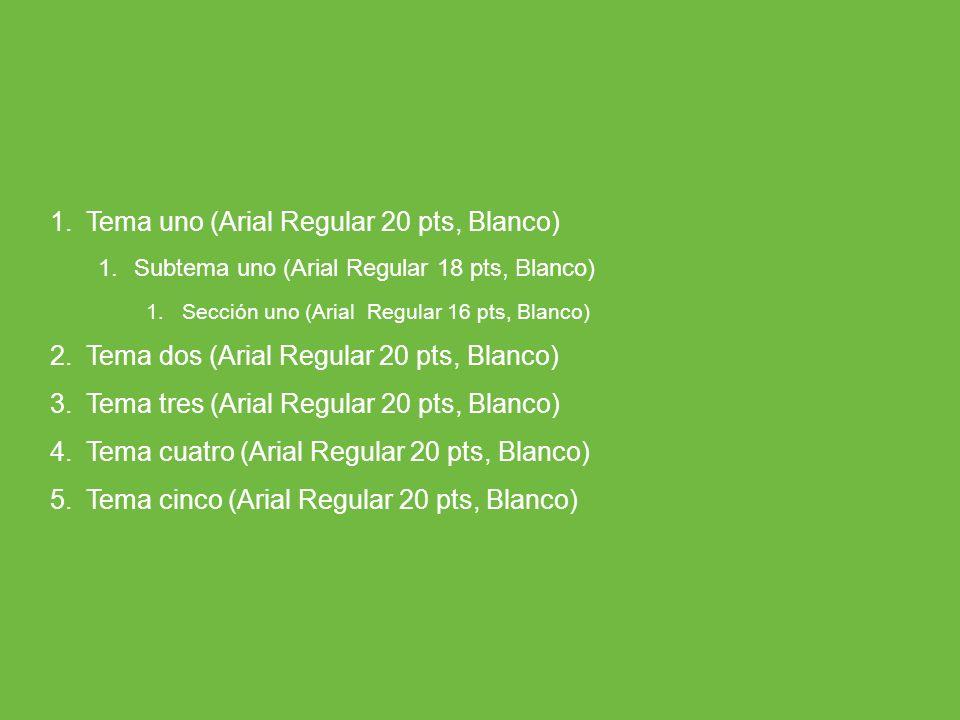 ARP SURA 1.Tema uno (Arial Regular 20 pts, Blanco) 1.Subtema uno (Arial Regular 18 pts, Blanco) 1.Sección uno (Arial Regular 16 pts, Blanco) 2.Tema do