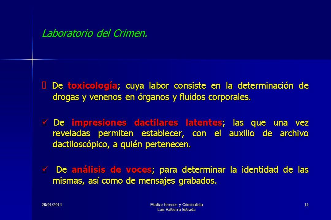 28/01/2014Medico forense y Criminalista Luis Valtierra Estrada 11 Laboratorio del Crimen. De toxicología; cuya labor consiste en la determinación de d