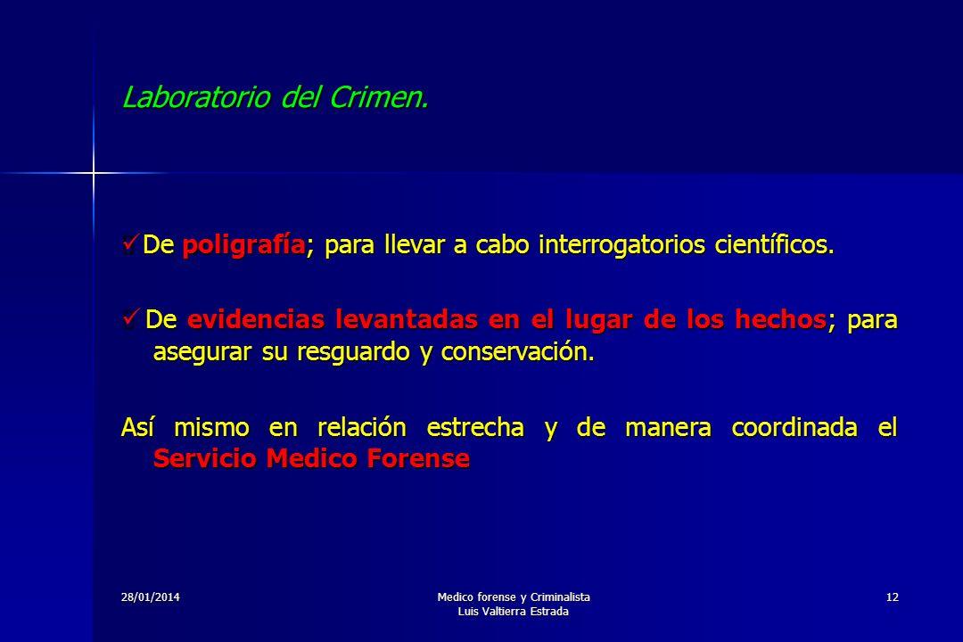 28/01/2014Medico forense y Criminalista Luis Valtierra Estrada 12 Laboratorio del Crimen. De poligrafía; para llevar a cabo interrogatorios científico