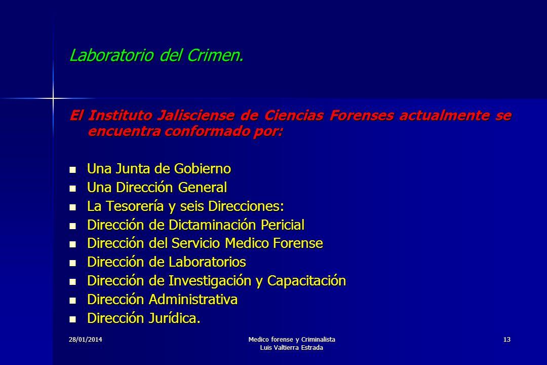 28/01/2014Medico forense y Criminalista Luis Valtierra Estrada 13 Laboratorio del Crimen. El Instituto Jalisciense de Ciencias Forenses actualmente se