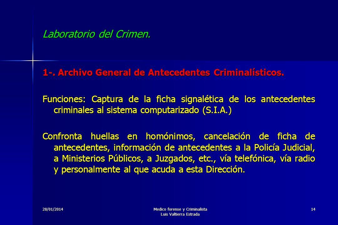 28/01/2014Medico forense y Criminalista Luis Valtierra Estrada 14 Laboratorio del Crimen. 1-. Archivo General de Antecedentes Criminalísticos. Funcion