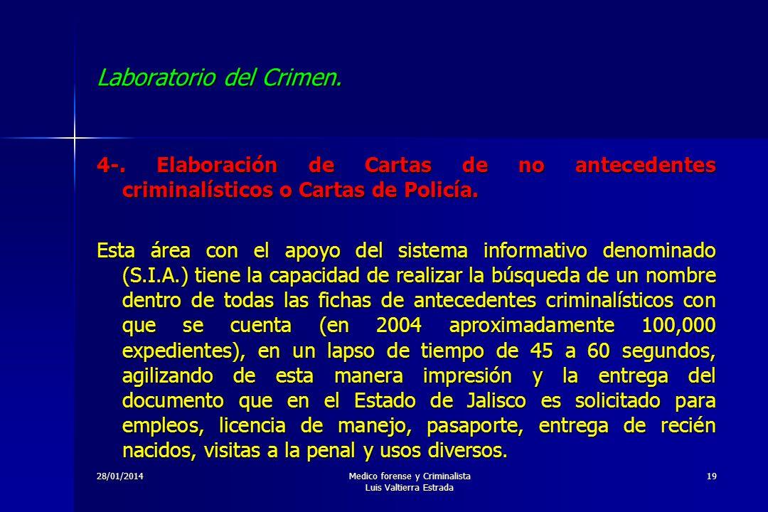28/01/2014Medico forense y Criminalista Luis Valtierra Estrada 19 Laboratorio del Crimen. 4-. Elaboración de Cartas de no antecedentes criminalísticos