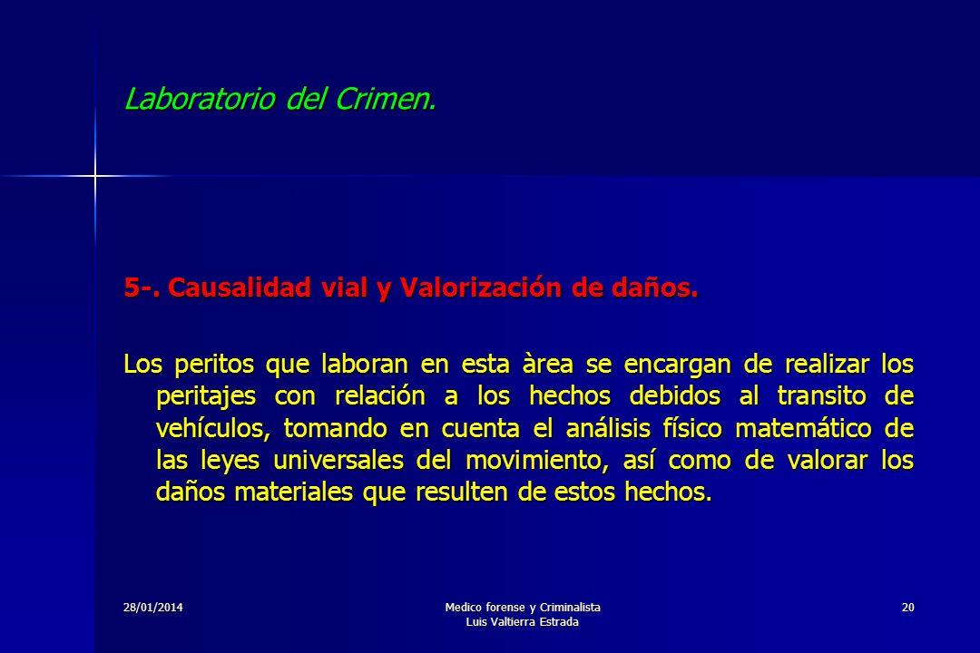 28/01/2014Medico forense y Criminalista Luis Valtierra Estrada 20 Laboratorio del Crimen. 5-. Causalidad vial y Valorización de daños. Los peritos que