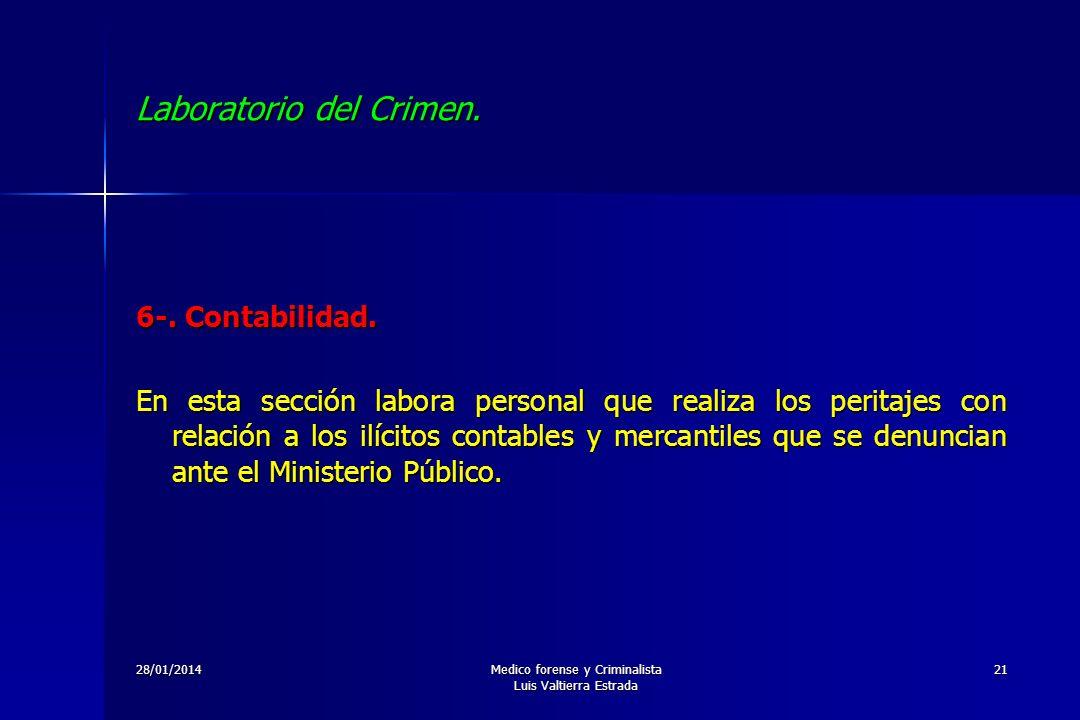28/01/2014Medico forense y Criminalista Luis Valtierra Estrada 21 Laboratorio del Crimen. 6-. Contabilidad. En esta sección labora personal que realiz