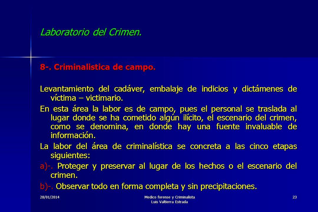 28/01/2014Medico forense y Criminalista Luis Valtierra Estrada 23 Laboratorio del Crimen. 8-. Criminalistica de campo. Levantamiento del cadáver, emba