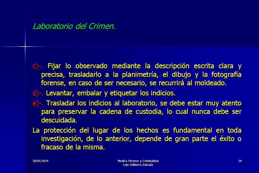 28/01/2014Medico forense y Criminalista Luis Valtierra Estrada 24 Laboratorio del Crimen. c)-. Fijar lo observado mediante la descripción escrita clar