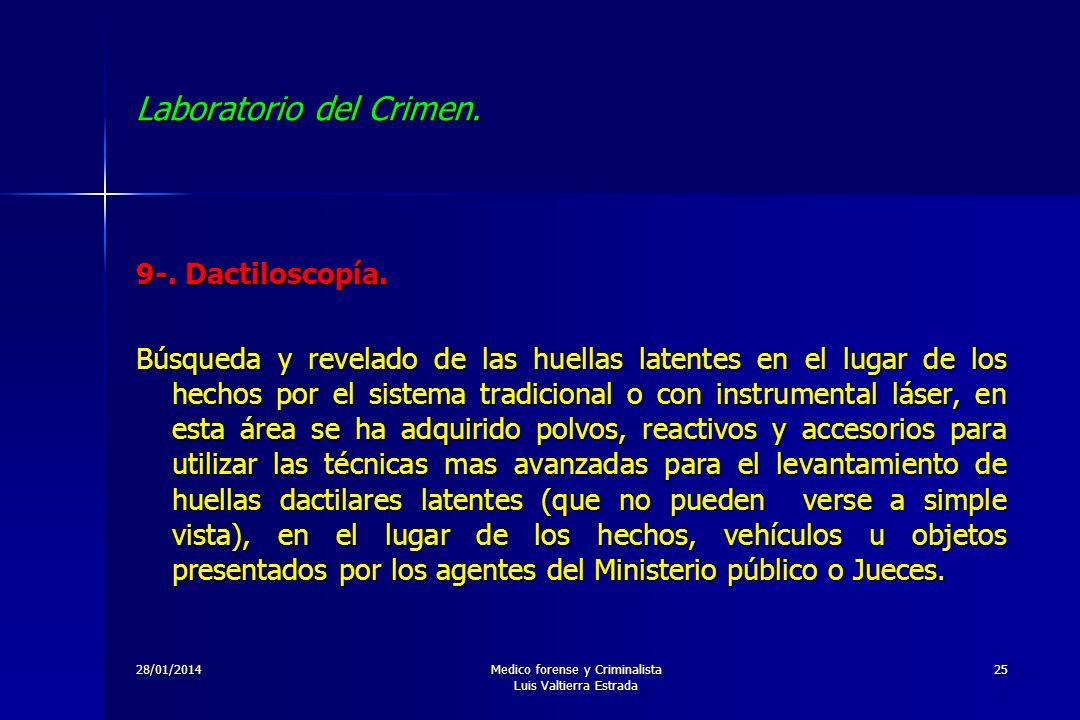 28/01/2014Medico forense y Criminalista Luis Valtierra Estrada 25 Laboratorio del Crimen. 9-. Dactiloscopía. Búsqueda y revelado de las huellas latent